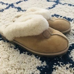 UGG Shoes - UGG Australia Tan Slip On Leather Slippers Mules